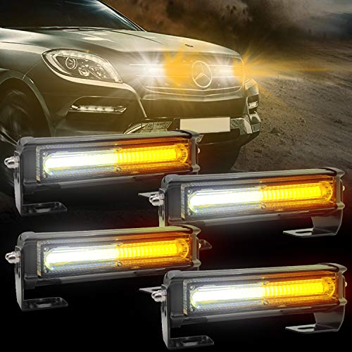 Emergency Strobe Lights for Vehicle, 4 in 1 LED 32W Surface Mount Emergency Warning Hazard Flashing Strobe Light Bar, Roof and Side Installation for Off Road Vehicle, ATVs, Truck (White Amber)