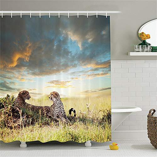 ZLWSSA Cortina de Ducha Impermeable 3D Safari Dos guepardos Hierba Animales peligrosos Cazadores Clima lluvioso Baño de poliéster A 180x240cm