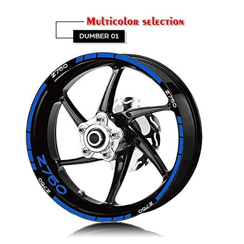 Luyangyund Etiqueta engomada de la Motocicleta Rueda de neumáticos Decalación Interior Exterior Rim Reflective Logo Decal Decal Kit Conjunto para Kawasaki Z750 (Color : XT LQ Z750 BLU)