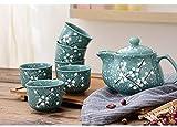 Juego de tetera japonesa china de primavera y 6 tazas de té con infusor de acero inoxidable