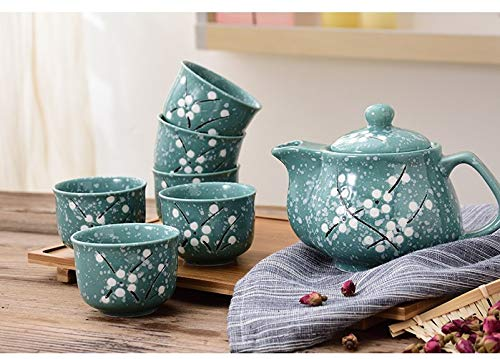 MamaBabaBebe - Set di 6 tazze da tè con teiera, motivo fiori primaverili cinesi, in stile giapponese, con infusore in acciaio inox