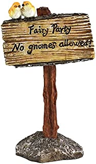 Top Collection Miniature Fairy Garden and Terrarium Fairy Party, No Gnomes Allowed Sign