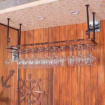 Yaad Shelf Iron Hanging Wine Rack Ceiling Decoration Rack for Bar, Hanging Glass Rack Wine Storage,Bronze,120 * 35cm from Yaad