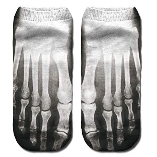 VIccoo Sokken, Adult Unisex Zomer Laag Gesneden Korte Over Enkel Boot Grappige Skeleton Bone 3D Digital Printing Gradient Kleur Rib Trim Polyester Hosiery Stocking - A