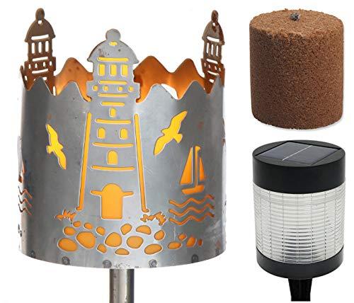 Novaliv Gartenfackel Leuchtturm Feuerschale Metall mit Stiel Brennmittel Solarlampe LED