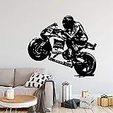 Etiqueta engomada de la pared del vinilo de la motocicleta de la historieta para la etiqueta engomada de la pared del vinilo de la decoración del dormitorio