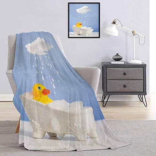 Toopeek - Manta de goma con estampado de pato de calidad comercial, diseño de pato con nube sobre la cabeza, color amarillo y azul