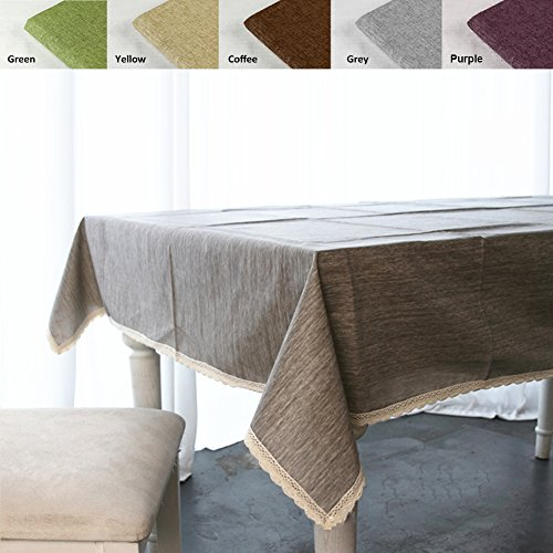 """ColorBird Solid Cotton Linen Tablecloth Waterproof Macrame Lace Table Cover for Kitchen Dinning Tabletop Decoration (Rectangle/Oblong, 55"""" x 120"""", Sage Green)"""