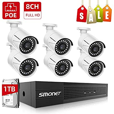 ?8CH Full HD? PoE Home Security Camera System,SMONET NVR Surveillance System with 1TB Hard Drive,6pcs Onvif Indoor Outdoor Full HD IP Cameras,Waterproof NVR Kits,Night Vision,Free Remote View