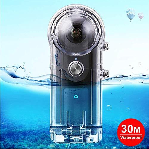 Sixcup® 30M Unterwasser Gehäuse für Ricoh Theta S Theta V & SC360,Wasserdichtes Unterwassergehäuse Schutzhülle für PULUZ Zubehör (Clear)