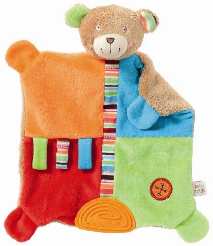 Fehn 091090 Activity-Schmusetuch Teddy / Stofftier-Schnuffeltuch mit Rassel zum Kuscheln, Greifen, Fühlen, Spielen für Babys und Kleinkinder ab 0+ Monaten