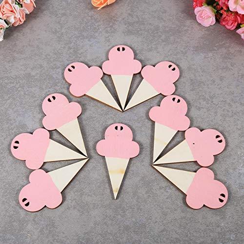 Omabeta 10 tarjetas de madera con forma de helado, para colgar en la pared, para niños, para guardería, hogar, dormitorio, color rosa