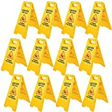VEVOR Señal Seguridad Precaución Suelo Resbaladizo Cuando Está Mojado de Doble Cara Amarillo 12 PCS Adecuado para Restaurantes, Baños, Manteniendo a Peatones. Al Tanto de Áreas Peligrosas