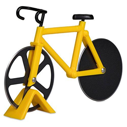 Pizzaschneider im Fahrrad Design - Gelb-Schwarz 18 x 12 x 3 cm - Edelstahl Pizzaroller für Pizza Calzone Flammkuchen