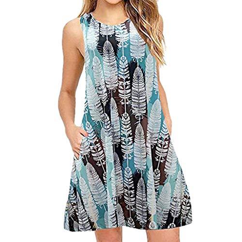 Damen Kleider Sommer O-Ausschnitt Ärmellos Weste Sexy Kleider Damen Strandkleid Lose Knopfdruck Leinenkleid Nähte mit Taschen Kleid Minikleid (EU:38, Hellblau)