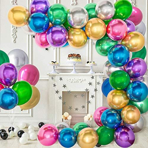Kit de Guirnalda con Globos de Fiesta, 60 Piezas de Globos para Bodas, Fiestas, Baby Shower Cumpleaños Decoraciones (Metálico)