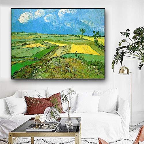 RTCKF Campo de Trigo sobre el Terreno de Van Gogh Impresionista Pintura al óleo Abstracta Impresión en Lienzo Cartel y Mural de Sala de Estar (Sin Marco) A3 50x70cm