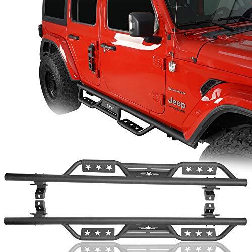 Hooke Road Drop Side Step Rail Nerf Bars Steel Running Boards Compatible with Jeep Wrangler JL 2018 2019 2020 2021 4-Door