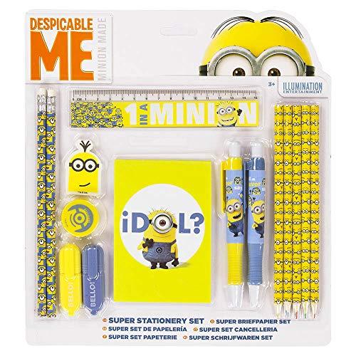 Minions 15tlg Schreibset - Stifte Set - Radierer Spitzer Kugelschreiber Buntstifte Lineal Block