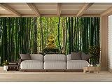 Fotomural Vinilo para Pared Buda en Bosque de Bambú | Fotomural para Paredes | Mural | Vinilo Decorativo | Varias Medidas 200 x 150 cm | Decoración comedores, Salones, Habitaciones.
