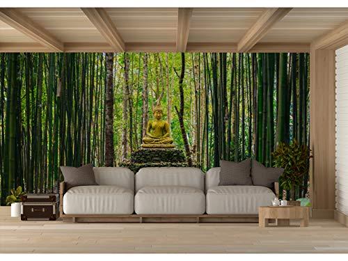 Fotomural Vinilo para Pared Buda en Bosque de Bambú | Fotomural para Paredes | Mural...