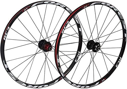 Juego de ruedas de bicicleta de montaña de 26 pulgadas, doble pared, llanta de bicicleta MTB, buje de ciclismo, 5 Palin Hybrid, liberación rápida, 24 orificios, 8/9/10 velocidades, ruedas delanteras y
