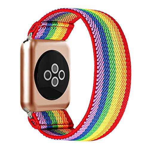 BMBEAR Stretchy Strap Loop Compatible with Apple Watch Band 38mm 40mm iWatch Series 6/5/4/3/2/1 Rainbow Colors