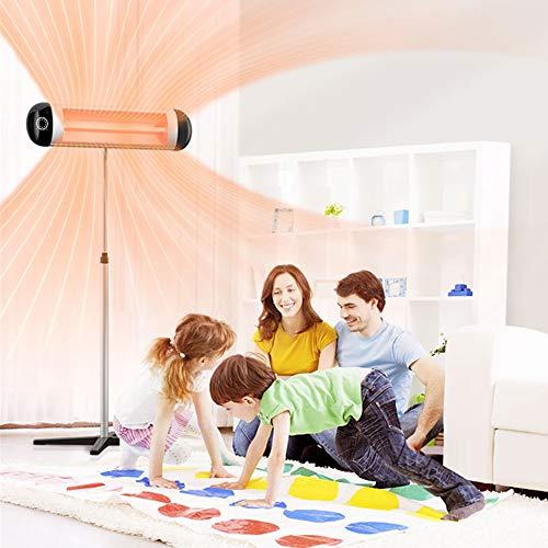 HQL Panel de Estufa eléctrica para Interiores/Exteriores de 2500 W, Calentador Independiente con Soporte, Calentador de terraza por Infrarrojos de Pared con Control Remoto