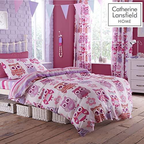 Catherine Lansfield Owl Easy Care doble edredón conjunto Multi