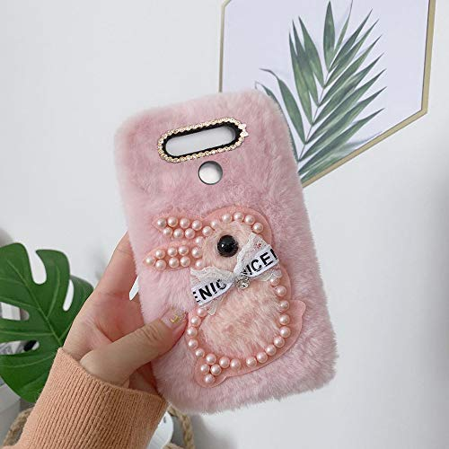 yhy G5 SE Mobile Phone Case Fashion Style New Cute 3D Cute Pearl Rabbit Plush For LG G5 SE Pink