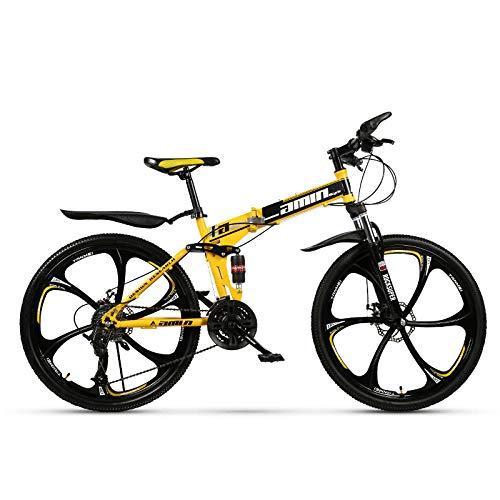 CSZZL Bici montanbike Uomo,Mountain Bike Pieghevole 26 Pollici Bici a Doppio Ammortizzatore a velocità variabile-(6 Ruote di Taglio) Giallo_27 velocità