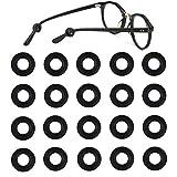 TEEMADE Silicone Eyeglasses Temple Tips Sleeve Retainer,Anti-Slip Round Comfort Glasses Retainers Hooks for Spectacle Sunglasses Reading Glasses Eyewear (Black)