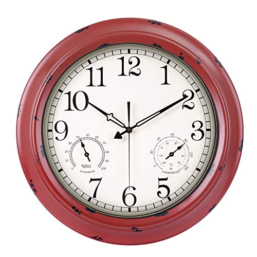 Large Outdoor Clock with Thermometer and Hygrometer Combo, Waterproof Distressed Silent Battery Operated Analog Wall Clock for Pool, Garden, Patio, Fence, Porch (18-Inch, Red)