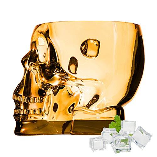 SYSP Cubo de Hielo acrílico, Cubo de Calavera para contenedor de Vino Helado, Cubo de Bebidas Transparentes con Asas, Cubo de Hielo de Cristal para Fiesta de Bar,Naranja