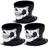 eBoot 3 Pack Seamless Skull Face Tube Headband Scarf Motorcycle Head Wrap Outdoor Sport Headwear (White)
