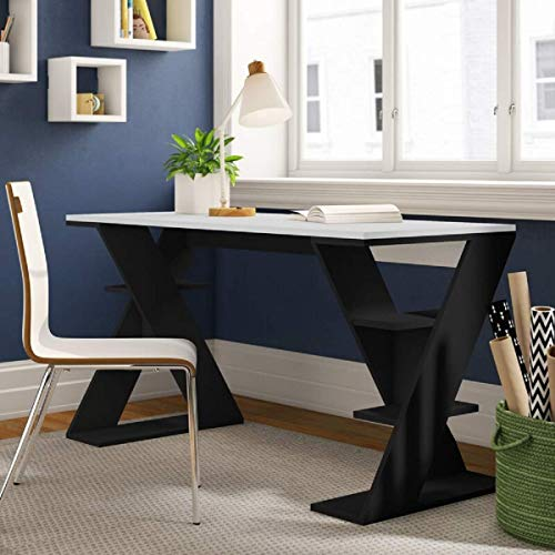 EBANSAL Solid Wood Designer Study Writing Desk Table for Office | Unique Computer Table with Open Shelf Storage for Home and Office | Sheesham Wood, Walnut Finish
