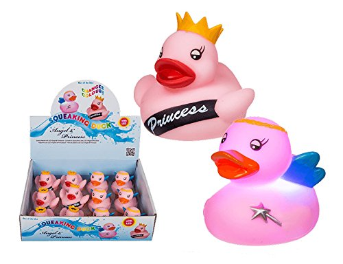 Ideal Quietsche Ente mit LED Pinke Badeente Ente Gummiente Schwimmente Quietscheente