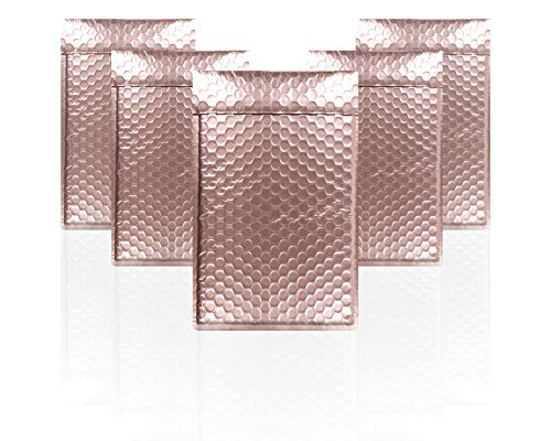 AMZ Pack of 10 Rose Gold Bubble Mailers 5 x 9 Poly Padded Envelopes with Self-Adhesive Closure, Glamour Metallic Shipping Bags for Mailing Packaging