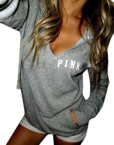 YLnini Womens Hoodie Long Sleeve Sweatshirt L Grey