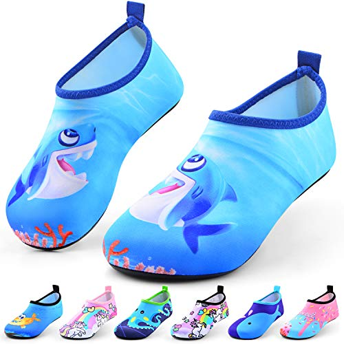 Sunnywoo Water Shoes for Kids Girls Boys,Toddler Kids Swim Water Shoes Quick Dry Non-Slip Water Skin Barefoot Sports Shoes AquaSocks for Beach Outdoor Sports,11-12 Little Kid,Blue Shark
