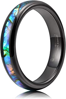 Abalone Shell Inlay Tungsten Rings 4mm Womens Wedding Domed Band Black/Silver/Rose Gold