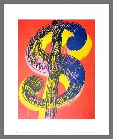 Germanposters Andy Warhol Dollar Sign 1981 Black & Yellow on red Poster Kunstdruck Bild im Alu Rahmen Champagne 42x34cm