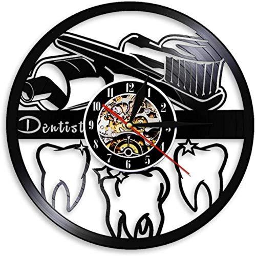ZAWAGU Vinyl Wanduhr Geschenke Dekoratives Haus aus CD LP 3D Zahnbürste und Zahnpasta Mundhygiene modernes Bad Zeichen Zahnarzt Zahnarzthelferin 12 Zoll
