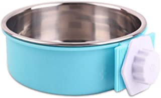 DENTRUN Pet Dog Bowls Stainless Steel Hanging Food Water Feeder Dish, Dog Feeding Bowl Cup Cage Plastic Case with Removable Bolt Holder for Cats Birds Puppy Rabbits,Food Grade Bowl