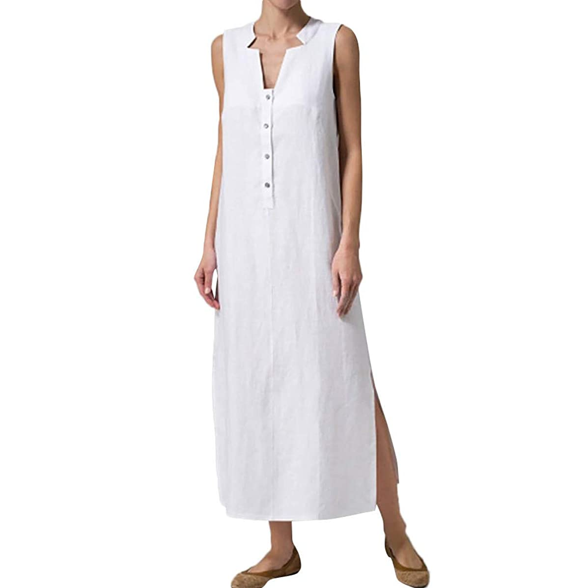 SAYEI Women Summer Sleeveless Button Solid Sundress Casual Linen Maxi Comfort Long Dress