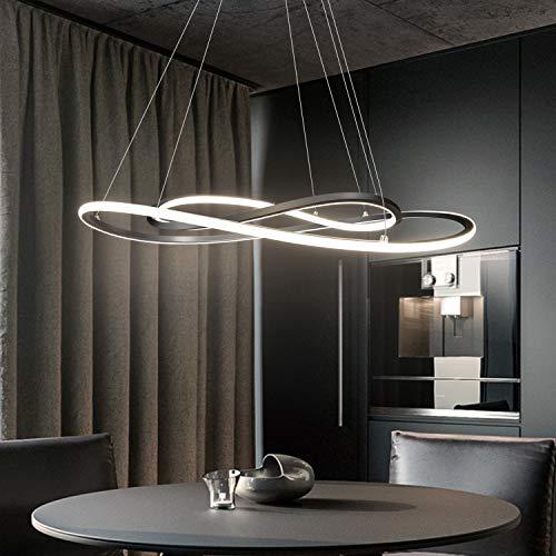 ZMH Moderne LED Pendelleuchte esstisch 46W Led 2-Ring led 4000K Neutralweiß Hängeleuchte in chrom aus Eisen uns Aluminium Wohnzimmer Deckenleuchte Schlafzimmer Höhenverstehbar Hängelampe Kronleuchter