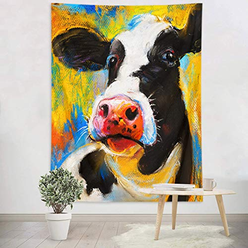 LB Painting Style Cow Wall Tapestry Watercolor Milk Cow Head in Blue Yellow Background Pop Art Tapestry Wall Hanging for Kids Bedroom Living Dining Room College Dorm Decor 60''Lx40''W