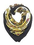 iAmotus SONRISA bufanda de seda patrón de moda para mujer bufanda con cabeza de satén cuadrada grande para mujeres en verano otoño (Oro negro)
