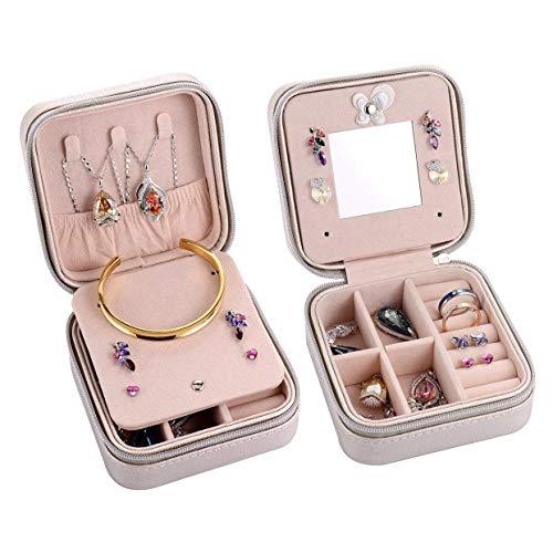 Fransande Caja organizadora portátil para joyas, pendientes, collar y accesorios con cremallera, color plateado