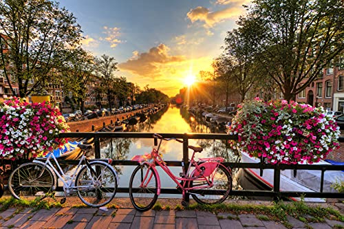 Tiveez 1000 Piece Jigsaw Puzzle for Adults Romantic Europe Landscape, Amsterdam Sunset Bike, Home Decoration Family Funny Difficult Game, Yellow, 27.55 x 19.68 inches